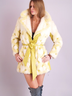 Vintage geometric art deco style yellow mink fur wrap coat.