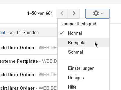 Elastische Dichte in Google Mail