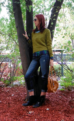 Casual.style featuring H&M sweater and Express distressed jeans, plaid shirt from M for Mendocino with purse from winners, sunglasses and Kenzi boots, Shop For Jayu necklace