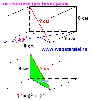 Диагональ, параллелепипед и ромб. Прямоугольный параллелепипед с основанием в виде ромба, короткая диагональ параллелепипеда. Теорема Пифагора в параллелепипеде. Математика для блондинок.