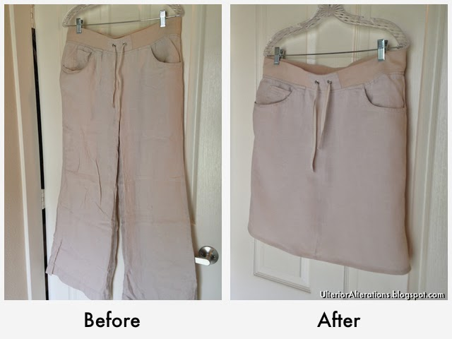 Ulterior Alterations: Linen Pant to Skirt Refashion Before & After