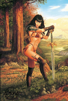 female warrior of the pine forest sword and armor