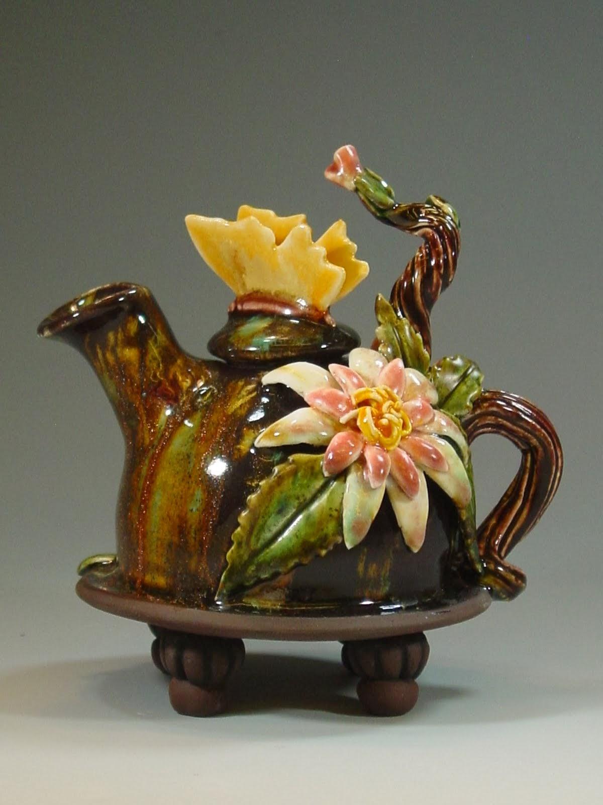 Flower & Butterfly on Sparkly Jewel Glaze