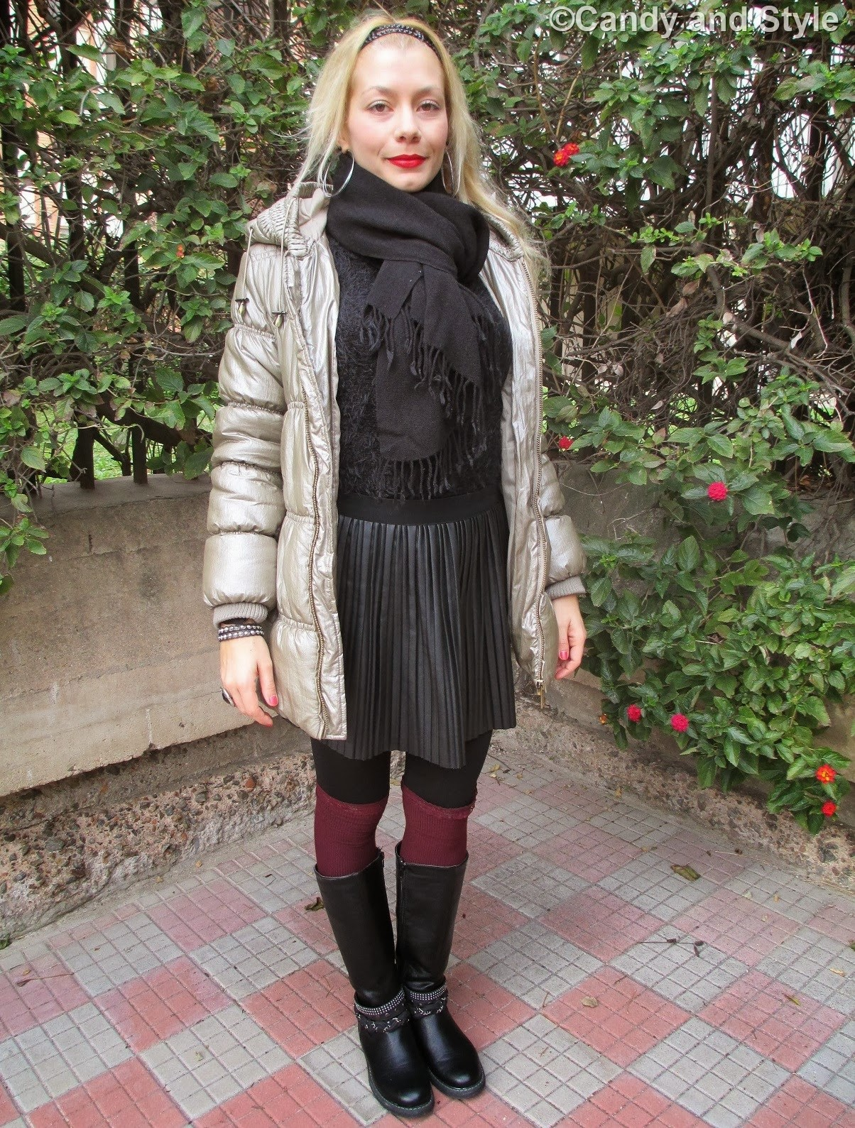 Puffer Coat, Pleated Skirt, Knee-Highs