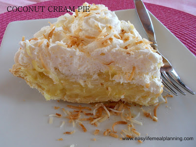 Coconut Cream Pie - Easy Life Meal & Party Planning