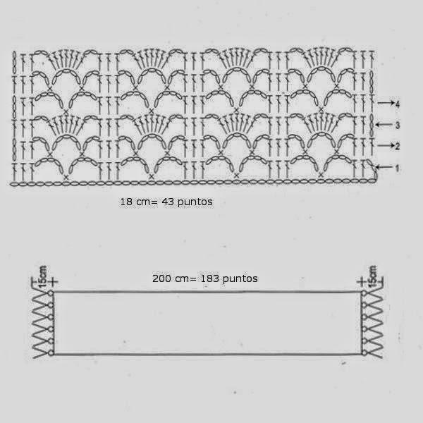 punto crochet patron bufanda