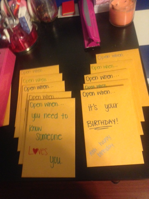 """Attempts of a non-crafty girl.: """"Open When"""" letters"""