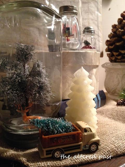 vintage mason jar snow globes
