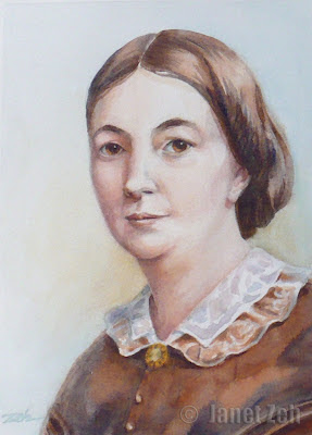 Watercolor portrait of Margaret Oliphant