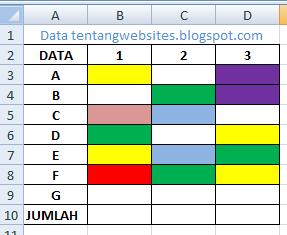 menghitung jumlah cell warna tanpa kriteria di excel