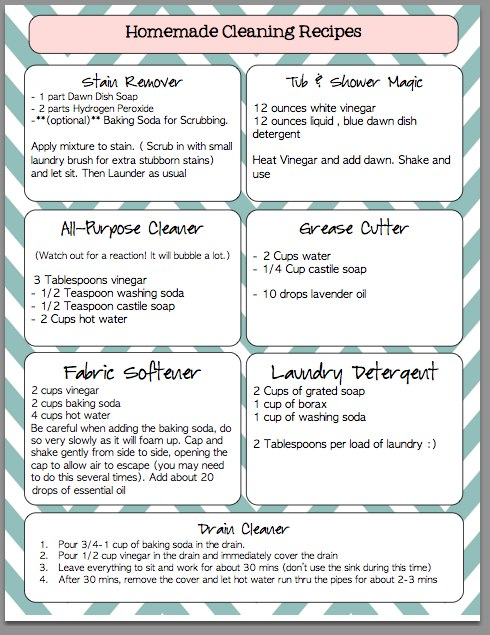 IGriza HomeMade Cleaning Recipes Printable