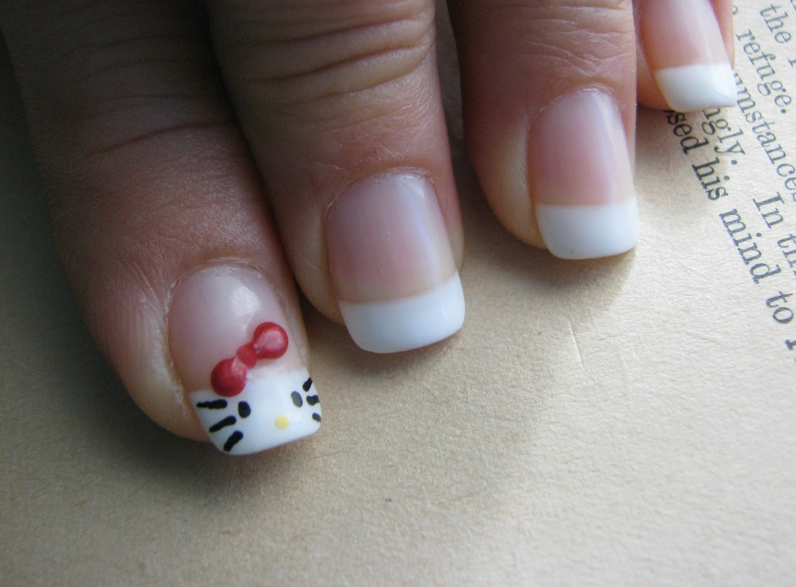 Stacys Thoughts Designs 88 Hello Kitty French Tip Gel Nails