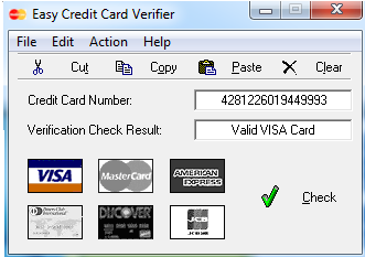 Credit Card / Debit Card Number Checker tool is designed to check the validity of Credit Card / Debit Card Number and check the (BIN) base on updated database. The tool support all major Credit Card & Debit Cards brands such as as VISA, MasterCard, American Express, Diner's Club,JCB & Voyager.
