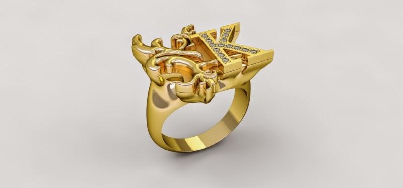anillo oro amarillo y diamantes renderizado k