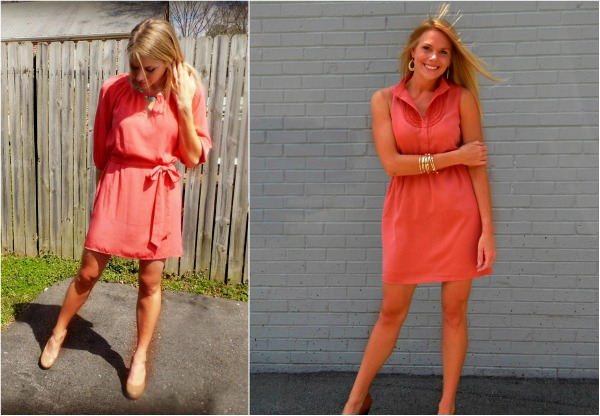 perfect summer dress, coral slip dress