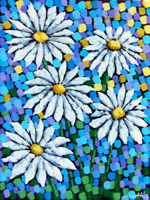 Daisies painting by aaron kloss artist, pointillism