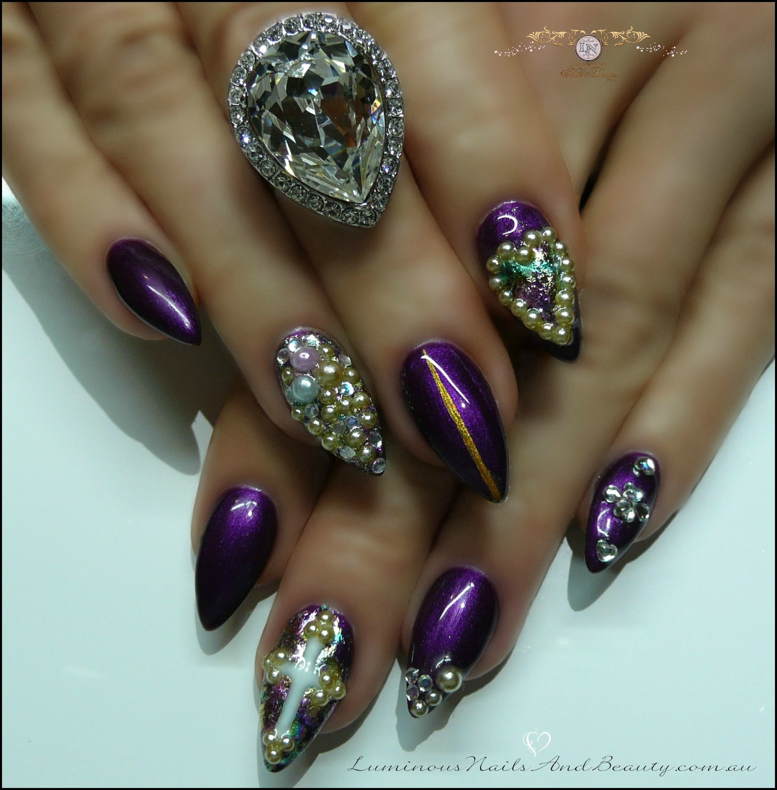 Violet Gel Nails With Diamonds