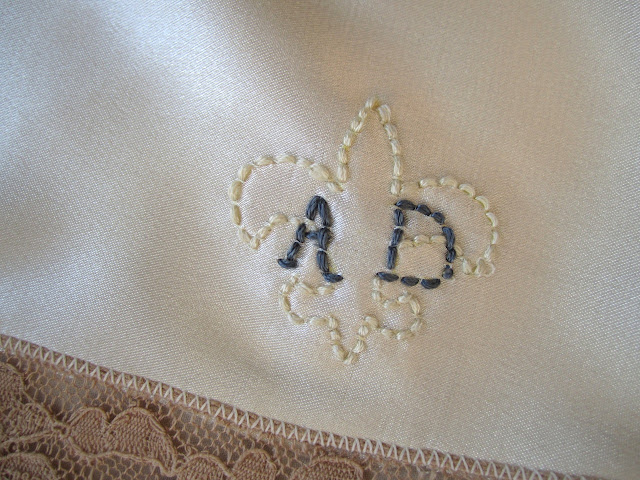 Fleur de lis embroidered monogram, lingerie embroidery