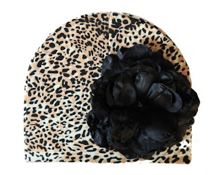 Leopard Print Hat with Black Rose Rockin hats by Baby Rebellion