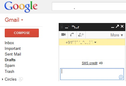 Gmail Chat Send SMS