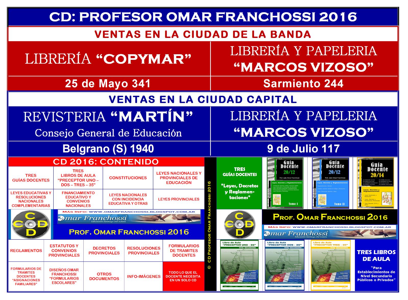 NUEVO CD: PROF. OMAR FRANCHOSSI 2016