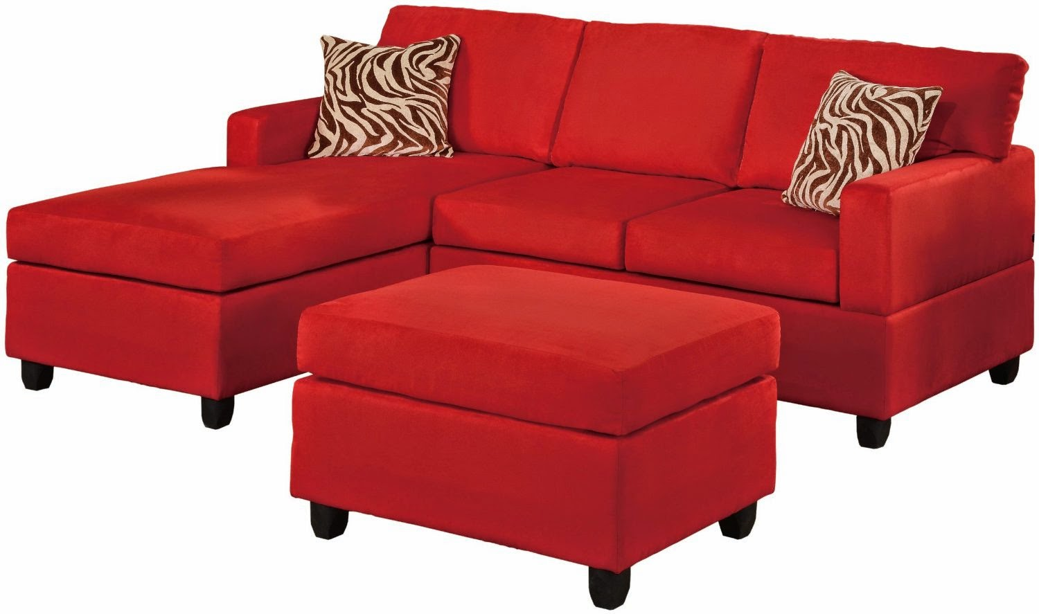 couch set red 3 piece fabric printed sectional couches set red