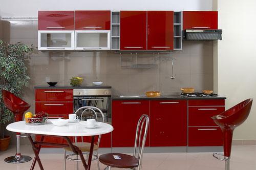 Hogares frescos dise os de cocinas rojas - Diseno cocina pequena ...