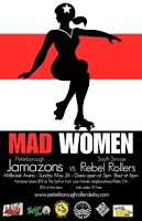 Roller Derby Poster -Mad Women  Red White and Black design