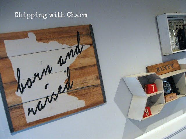 Chipping with Charm: Family Room Redo, Minnesota Sign by Vintage Estate...www.chippingwithcharm.blogspot.com