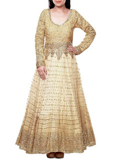 Cream Anarkali Party Wear | Embroidered Cream Gown