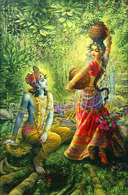 krishna radha painting image