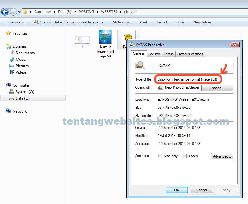 Cara mengetahui Format sebuah file