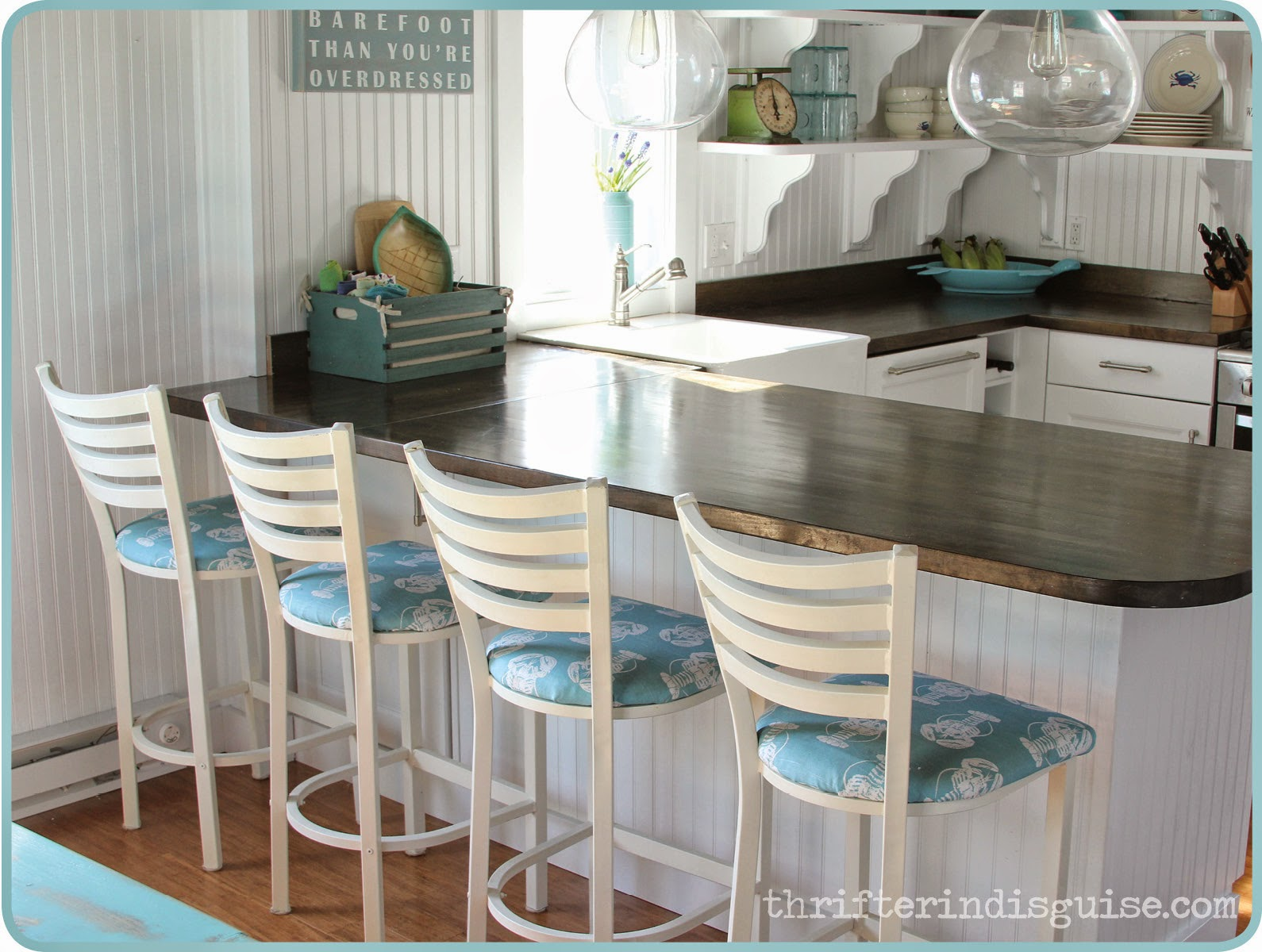 A Thrifter In Disguise DIY Beachy Bar Stool Tutorial