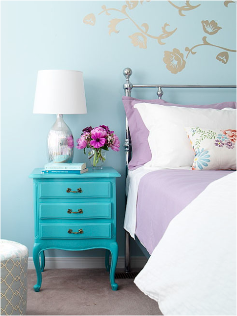 Lavender and Turquoise Bedroom