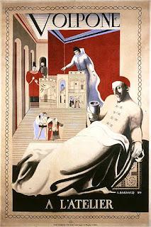 Affiche d'André Barsacq pour Volpone de Ben Johnson, Stefan Zweig et Jules Romain, théâtre de l'Atelier, 1929
