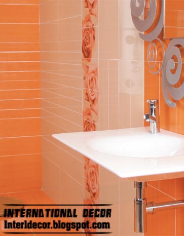 orange wall tiles fashions latest orange wall tiles designs for modern bathroom - Wall Tiles For Bathroom Designs
