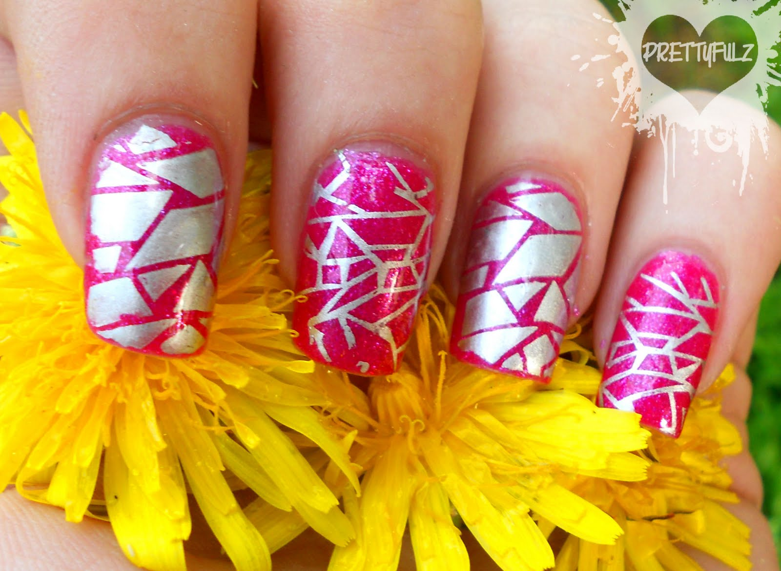 Prettyfulz: Pink Wednesdays | Abstract Pink & Silver Nail Art Design