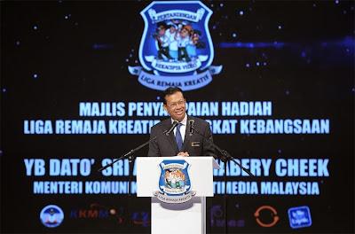 YBhg Dato Seri Shabery Cheek berucap di Liga Remaja Kreatif 2013