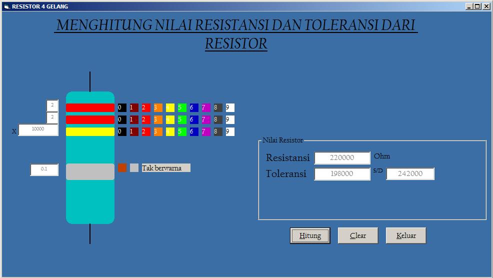 nilai resistor di pasaran