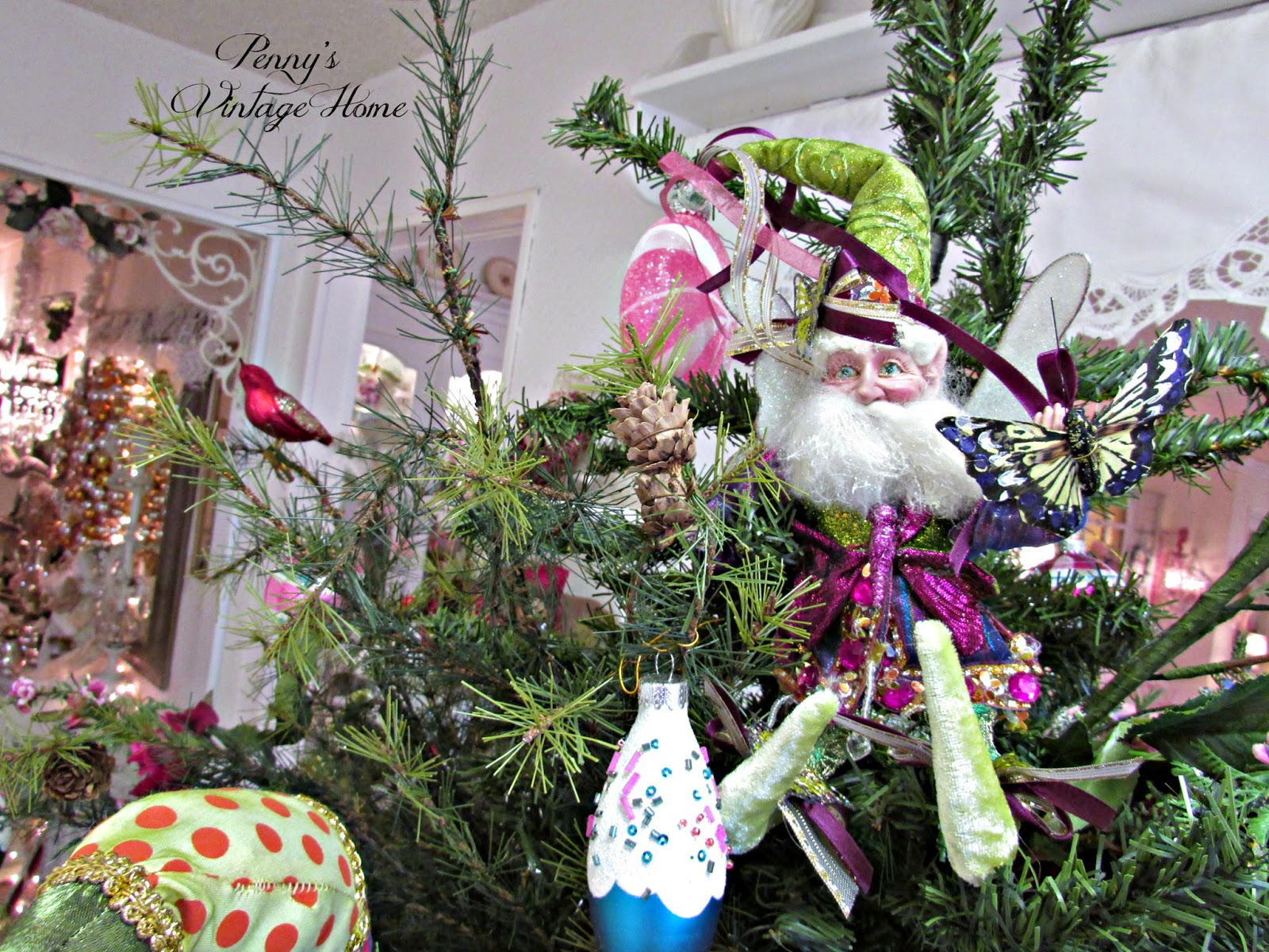 Fairy christmas ornaments - The Fairy Tale Christmas Tree Is Sitting On An Antique Wooden Wheel Chair I Put A Rose Wreath On Both Of The Wheels And Have A Christmas Train Around The