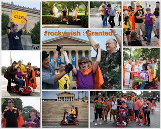 Photo montage of Glenda, Rocky impersonator, boxer Chuck Wepner and the gang at Wish Upon a Hero as they climb the steps at the steps Rocky climbed to the Philadelphia Museum of Art.