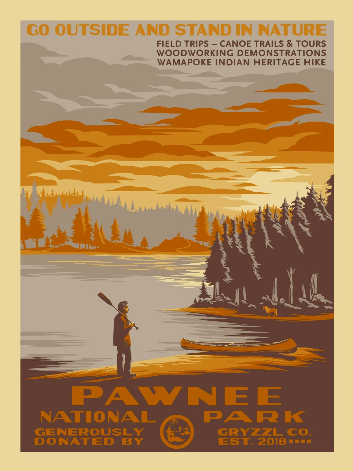 "Emerald City Comicon 2015 Exclusive ""Pawnee National Park"" Parks and Recreation Variant Screen Print by Mark Englert"