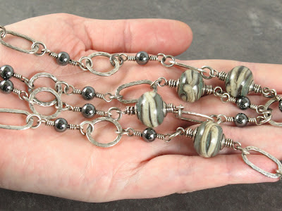fine silver & lampwork bead necklace