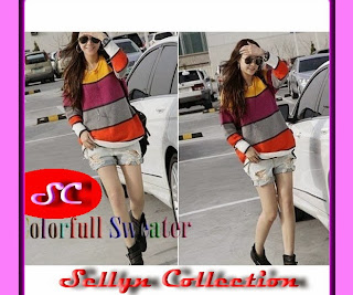 grosir baju rajut model colour full sweater