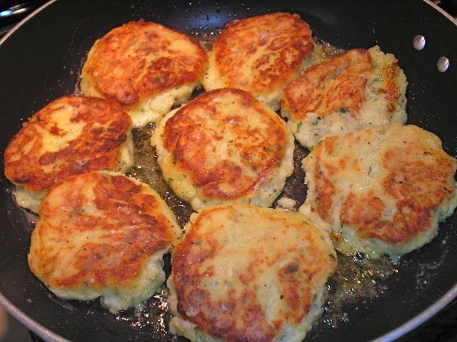 floured potato cakes potato cakes frying