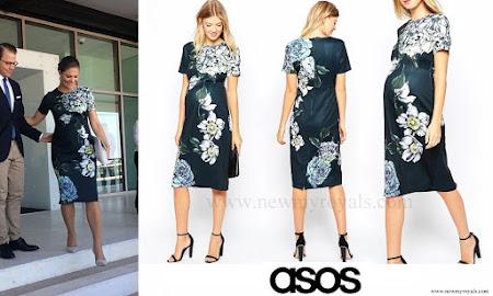 Crown Princess Victoria wore ASOS Maternity Placed Floral Scuba Midi Bodycon Dress