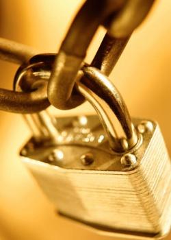 cadenas fermé sur une chaîne