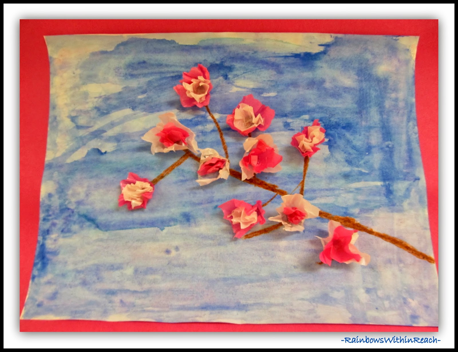 Spring Blossoms in Tissue Paper at RainbowsWithinReach