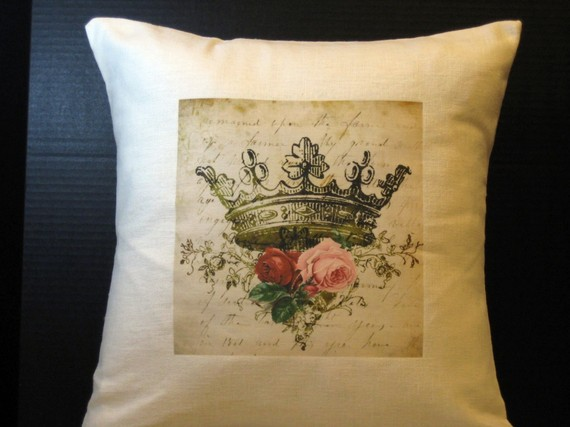 Shabby Chic Pink Pillows with Crown
