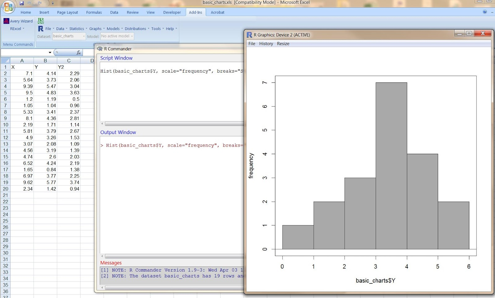 Advanced graphs using excel working in rexcel in ms excel 2007 lets now plot different type of plot scatter plot select scatter plot from r graphics menu ccuart Gallery